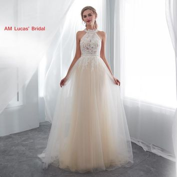 Long Sexy Wedding Dresses 2019 New Lace Sweep Train Bridal Party Gowns Fairytale Princess Dress Unique Design