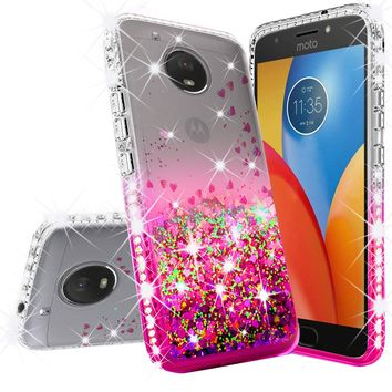 Motorola Moto E4 Case Liquid Glitter Phone Case Waterfall Floating Quicksand Bling Sparkle Cute Protective Girls Women Cover for Moto E4 - Hot Pink