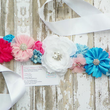 Gender Reveal Maternity Sash, Pink and Blue Maternity Sash, Photo Prop, Belly Band, Mommy Sash, Bridal Sash, Baby Prop