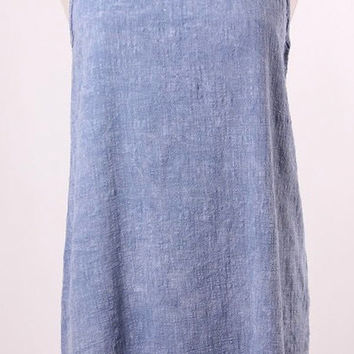 Blue Stone Washed Crinkle Cotton Shift Dress