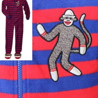 Sock Monkey Adult Footed Fleece Pajamas Footsie Footie Feet Blanket Sleeper