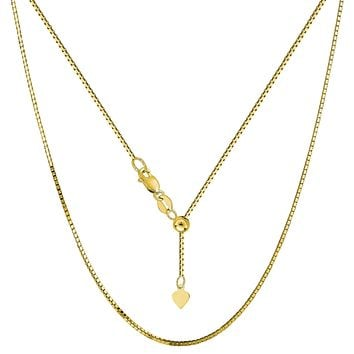"""14k Yellow Gold Adjustable Box Chain Necklace, 0.85mm, 30"""""""