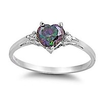 Madison: Heart-cut Simulated Rainbow Topaz and IOF CZ Promise Friendship Ring Silver, 3144