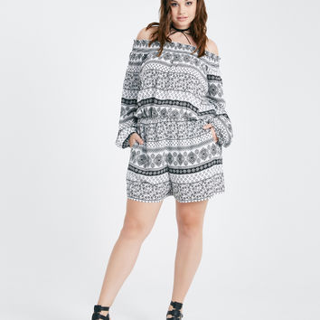 Plus Size Printed Off-The-Shoulder Romper | Wet Seal Plus