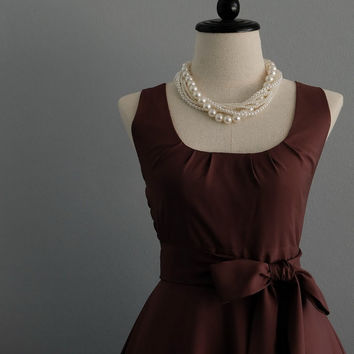 My Lady Choco Browwn Dress Spring Summer Dress Dark Brown Party Dress Brown Party Tea Dress Bridesmaid Dress Vintage Design Dress XS-XL