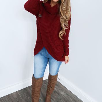 Girl Next Door Sweater: Burgundy