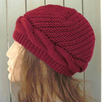 Hand Knit  hat- Cable knit hat-  Slouchy Beanie  Cloche  Wool hat   in Burgundy Fall autumn winter accessories Fashion women