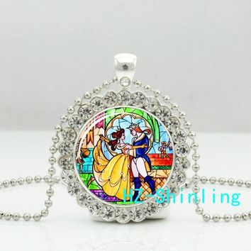 New Trendy Beauty And The Beast Necklace  And Princess Crystal Pendant Jewelry Ball Chains Glass Pendants Necklaces HZ6