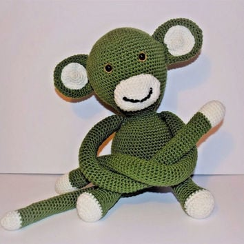 Handcrafted Green Monkey Amigurumi Toy, Crochet Doll, Curtain Accessory