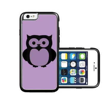 RCGrafix Brand Owl back emrald violet plain black iPhone 6 Case - Fits NEW Apple iPhone 6
