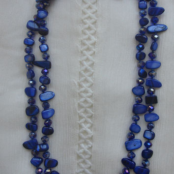 Crystal Blue Mother of Pearl Necklace