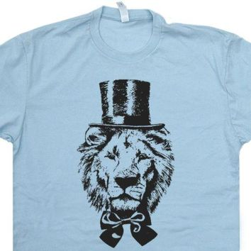 Tops Cool T Shirt Lions Top Hat T SHIRT Bow Tie Abe Lincoln King Cool Graphic Detroit Funny T O-Neck Tshirt Homme