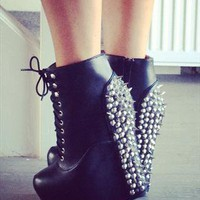 Damsel Black Spiked Wedge Boots from The Pokey Hat