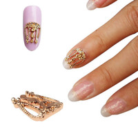 DIY Alloy Gold Hollow Out Nail Art Studs Stones Decoration