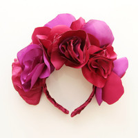 ROSES / Fabric flower kokoshnik / floral crown-OOAK - Ready to Ship