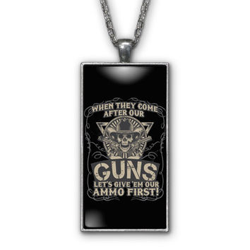 Guns Ammo Skull Western Patriotic Pendant Necklace Jewelry