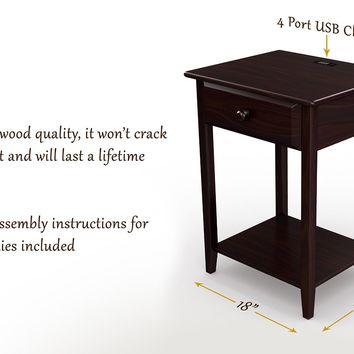 Stony-Edge NS-USB-17-ES 17 Inch End table Drawer with Usb Port, Espresso