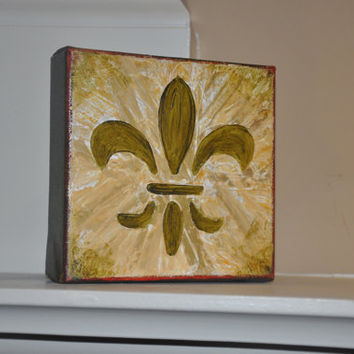 Fleur de Lis Acrylic Painting on Canvas  5x5 Original by dlynnart