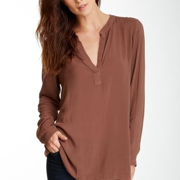Cloth & Stone | Cloth & Stone Long Sleeve Collarless Top | Nordstrom Rack