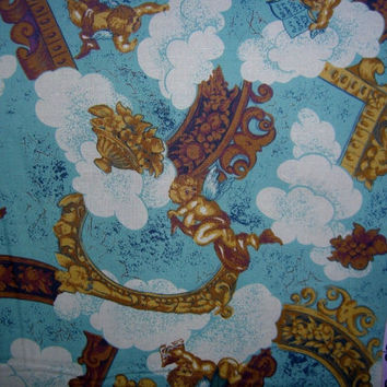 Heavenly fabric with angels cherubs cotton quilt print quilting sewing material to sew crafts by the yard yardage supply crafting project