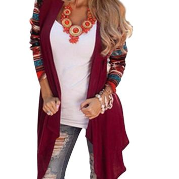 Woman's Burgundy Raglan Tribal Print Sleeve Cardigan Sweater Jacket