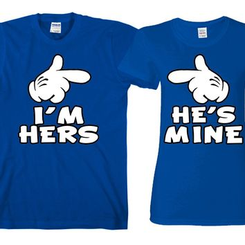 "I'm Her's - He's Mine ""Cute Couples Matching T-shirts"""