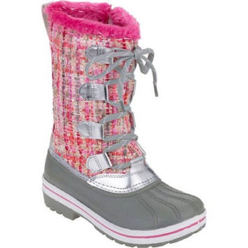 Ozark Trail Girl's Lace Up Boucle Winter Boots, 2, Gray/Pink Sparkle