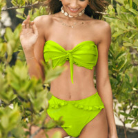 Summer New Fashion Solid Color Strapless Two Piece Bikini Swimsuit Green