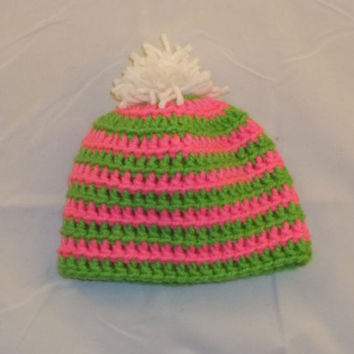 Preemie Crocheted Striped Pink & Lime Green Baby Hat with White PomPom Top - Crochet Striped Baby Hat