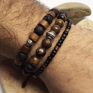 Natural look men bracelet set, brown wooden beads, tiger eye, black onyx, lava natural stone beads bracelets and seed bead bracelet