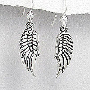 Exceptional Quality.925 Sterling Silver Delicate Dangle Wings Guardian Angel Religious Faith Catholic 8 mm. x 34 mm. Pendant Earrings