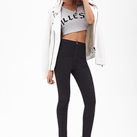 FOREVER 21 High-Waisted Jeggings Black
