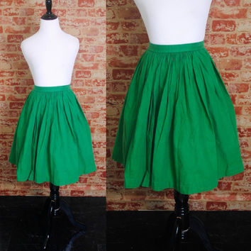 Vintage 1950s 50s High Waisted GREEN Thick cotton Full Circle skirt  Pockets