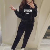 """Givenchy"" Women Casual Fashion Gold Velvet Letter Long Sleeve Hoodie Sweater Trousers Set Two-Piece Sportswear"