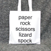 Big Bang Theory bag paper rock scissors lizard spock Sheldon Cooper Jim Parsons quote reusable grocery bag Star Trek