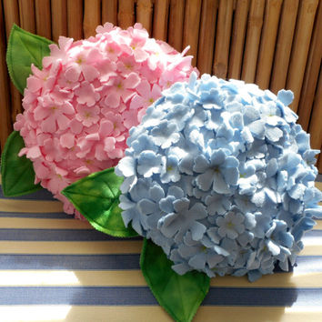 Pale blue hydrangea flower pillow,flower pillow, baby nursery pillow,throw pillow, hydrangea pillow, 3d hydrangea,hostess gift, house warm