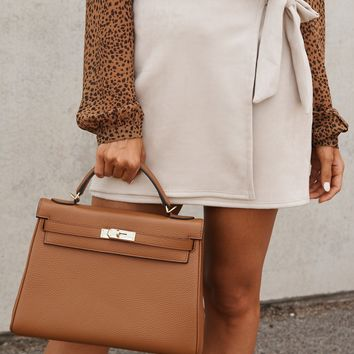 Side Note Wrap Skirt (Oatmeal)