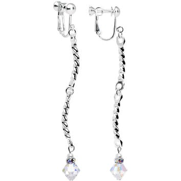 Handmade Clear Twist Clip On Earrings Created with Swarovski Crystals