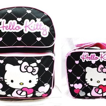 "Sanrio Hello Kitty Girls 14"" Canvas Black & Pink Backpack w/Insulated Lunch Bag"