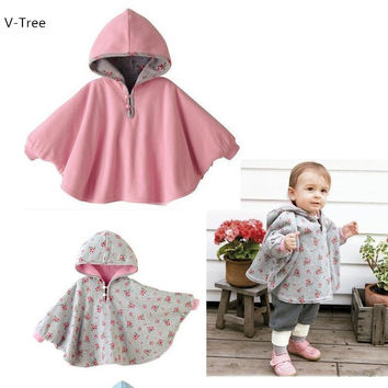 2016 Winter Autumn Double Sided Baby Kids Cape Cotton Warm Hooded Child Coat Jackets Fashion Girl Boy Solid Flower Cloak Clothes