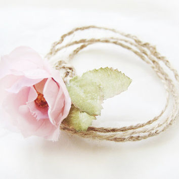 Rustic Wrap Bracelet, Woodland Jewelry, Bridesmaid Accessories, Anklet, Ankle Bracelet, Braided Necklace, Roses, Burlap, Jute