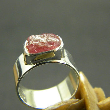 Ruby ring sterling silver rough raw ruby, wide band ring , high polished band, July birthstone size 7