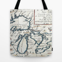 Vintage Map of The Great Lakes (1696) Tote Bag by BravuraMedia | Society6