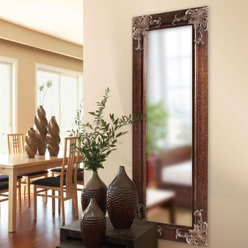 Full Length 63-Inch Wall Mirror with Quality Wood Frame & Antique Silver Gold Accents
