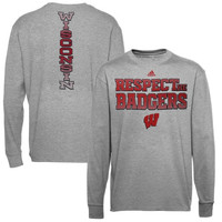 Wisconsin Badgers adidas Respect Long Sleeve T-Shirt – Gray