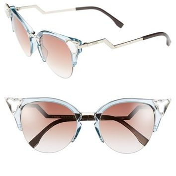 Women's Fendi Crystal 52mm Tipped Cat Eye Sunglasses
