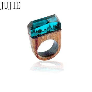 JUJIE unique design Wood ring for women resin Geometric ring bijoux national style explosion Creative ring fashion jewelry