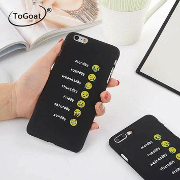 LMFONHS ToGoat Funny Every Day Mood Smile Emoji Case For iphone 7 Case Fashion Hard PC Cover Cartoon Phone Cases For iphone7 6 6S Plus N
