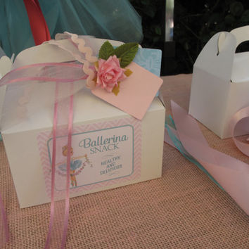 Vintage Inspired Tiffany Ballerina Gable Box / Snack Box and Label