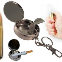 Steel Mini Portable Pocket Personal Ashtray Keychain & Cola Cigar Cigarette Lighter